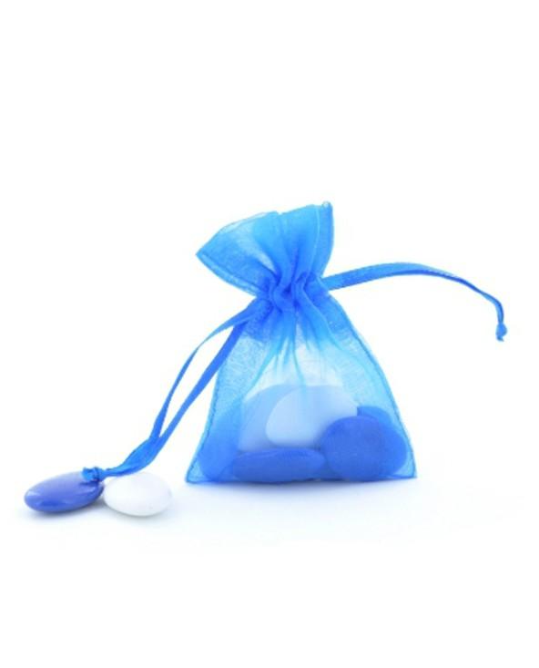 Pochette organza bleu