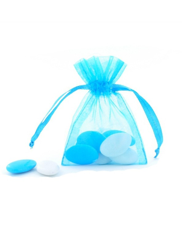 Pochette organza turquoise