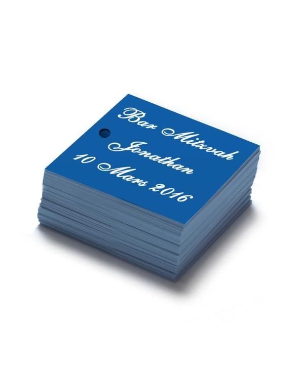 Étiquettes carrés personnalisables bleu
